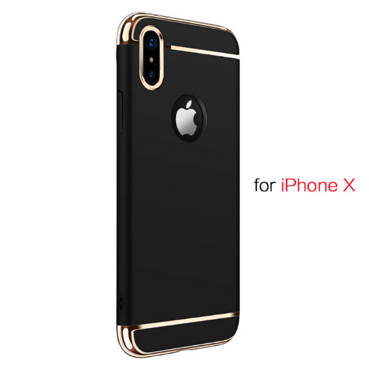 3 in1 case for iphone X, for iphone X electroplate PC case, ring holder bumper for iphone X
