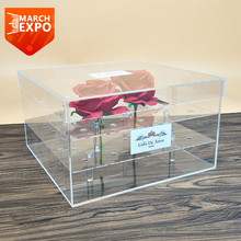Custom logo luxury transparent perspex flower display stand clear preserved acrylic rose box
