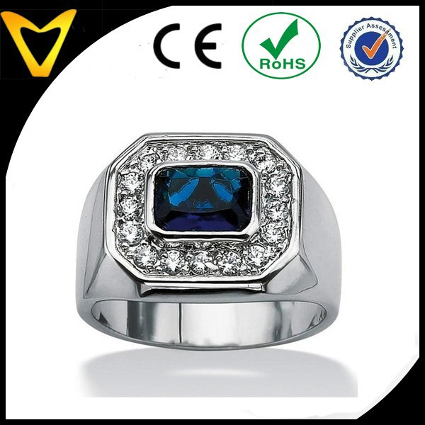 Ultimate CZ Silvertone Blue Glass and Cubic Zirconia Ring, 316 Surgical Steel Ring, Fashion Stainless Steel Jewelry Wholesale
