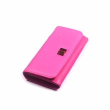 Fashion handmade pink leather wallet for ladies