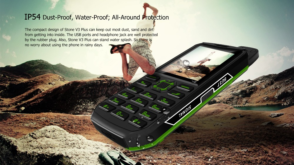 VKWORLD Stone V3 Plus 4000mAh Battery IP54 Waterproof Elder Man Mobile Phone RAM 32MB ROM 32MB Dual SIM GSM Mini Cell Phone