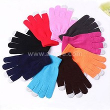 Wholeasle acrylic daily life usage cheap custom winter touch screen hand knitting gloves