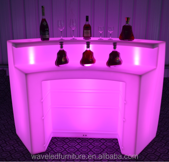 Portable plastic outdoor color changeable led lighted bar counter for sale