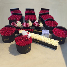 Wholesale Cardboard Paper Cylinder Round Hat Flower Gift Box With Lid, Custom Design Unique Roses Bouquet Box Packaging Luxury