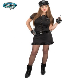 Colorful Women's Black Police Officer Lady Police Sexy Costume Uniform Costume With Handcuffs Belt Hat