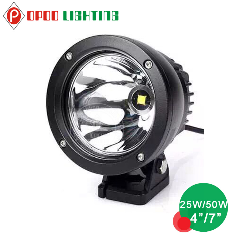 "Waterproof IP69K 25W 50W 7"" led round light cannon"