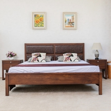 Indian simple wood double bed designs in wood