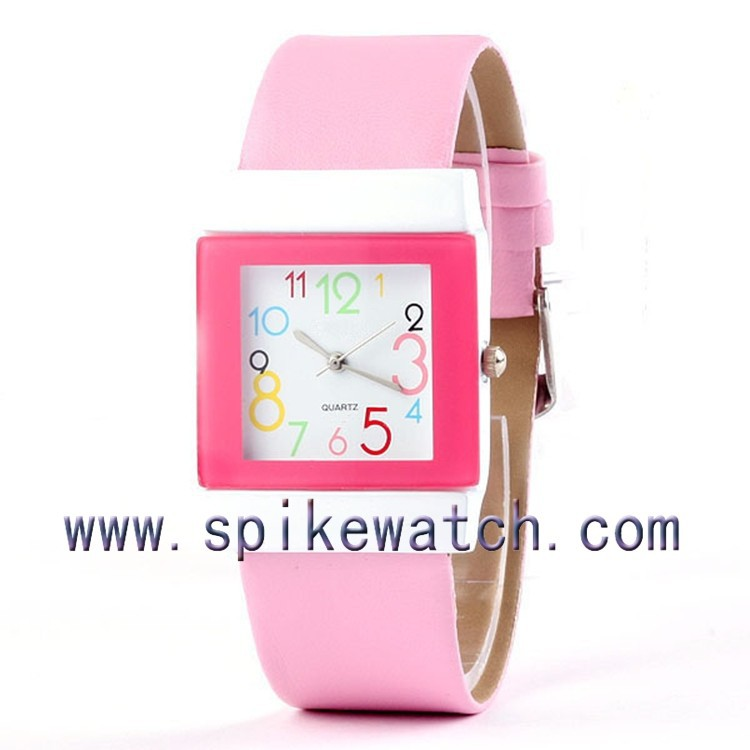 Pink colorful numbers dial cute design unusually designed wrist watches