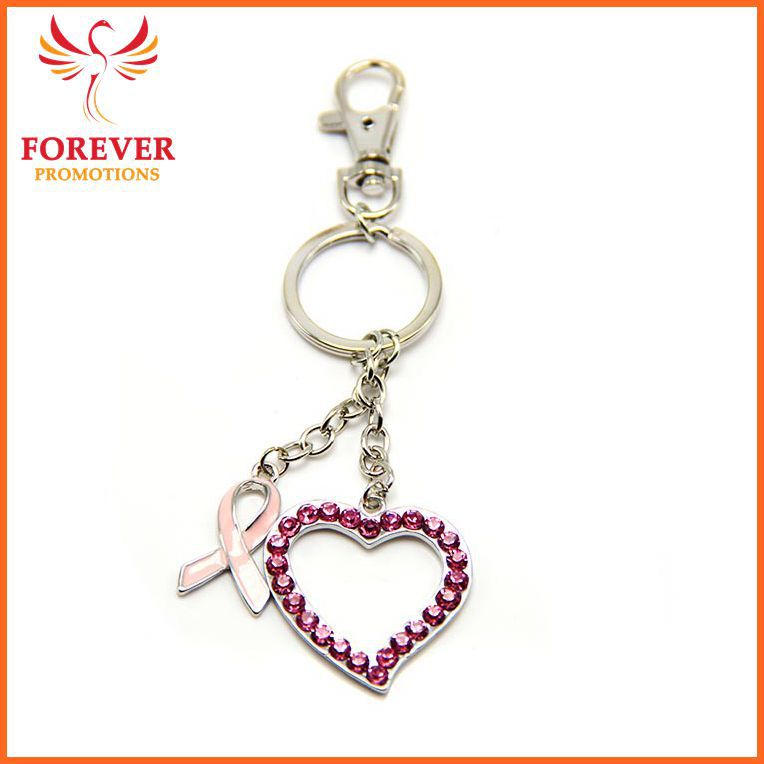 Wholesale Creative Pink Riboon Crystal Heart Keychain