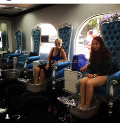 Blue leather cover glass bowl throne pedicure chair with jet