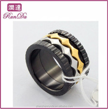 Alibaba gold member wide black and gold stainless steel ring