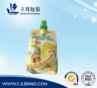 pouch with spout for fruit juice packing,