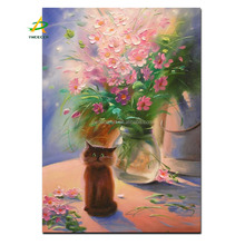 cute cat and flower harmonious fabric picture canvas frame painting wall decor photo decoration