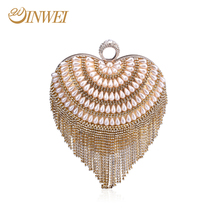 Luxury crystal clutch diamond beads handbags women evening Bags with heart shape