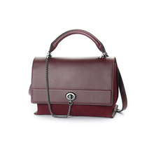 Red color no brand real leather handbags