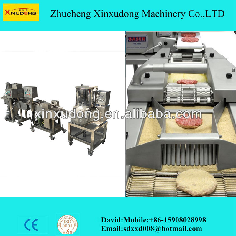 Automatic hamburger/nuggets forming and coating processing line