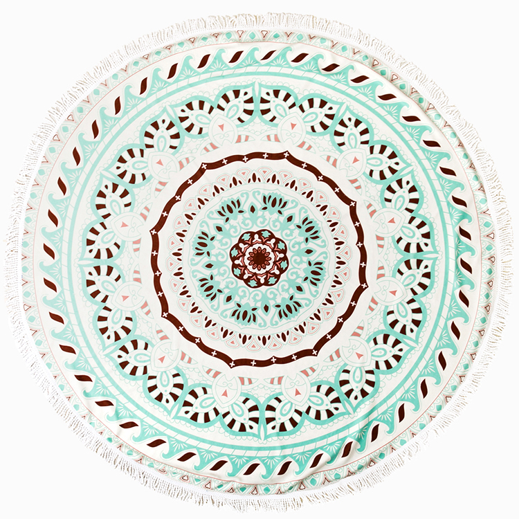 custom printed beach towel round with 100% full cotton Made in Turkey