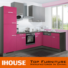 Guangdong Factory Directly Supply Modern Fancy Pink Paint Colors Kitchen Cabinets For Sale
