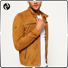 2018 Wholesale high quality winter clothes brown zipper suede jacket men