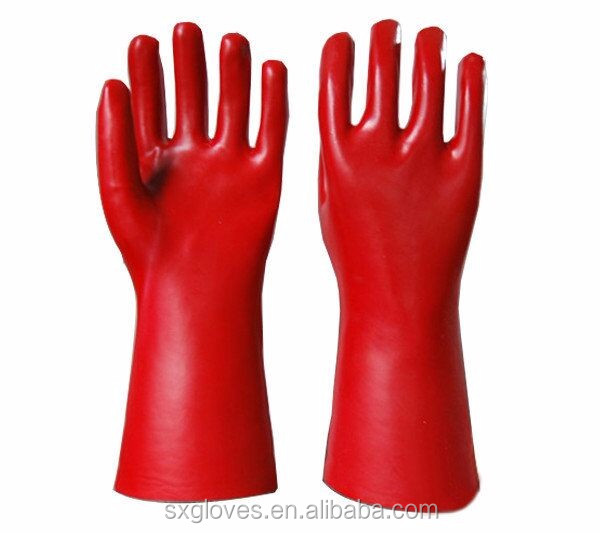 CAT3, Red Chemical resistance PVC gloves ,45cm