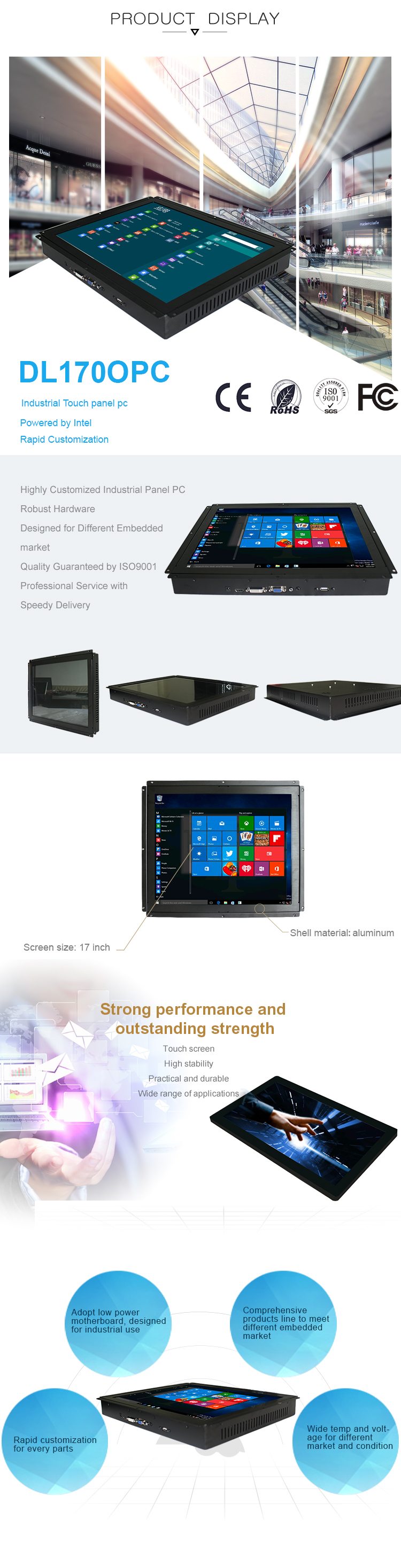 17 inch embedded industrial lcd touch screen computer monitor with tft vga lcd monitor hdm i DVI USB Ports