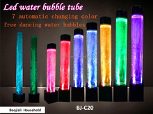 led light up round pillar water bubble tube used for salon