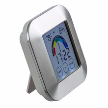 Touchscreen Digital Weather Station Alarm Clock with Forecast Temperature Humidity