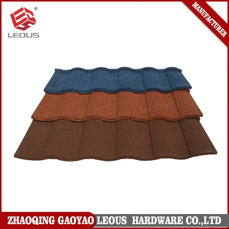 Custom made mixed color glazed steel sheet stone coated metal roof tiles