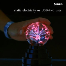 3'' inch USB Plasma Ball LED Crystal Magic Ball Light static electricity Touch Sensitive negative anion Magic Mood Night light