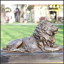 Hand Carved Large fiberglass metal bronze lion animal statues for Sale