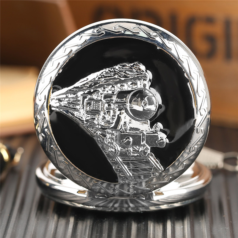 Glossy Steel Pocket Watch Black Epoxy Cover Silver Train on Railway Carving Pendant Chain Special Birthday Gifts Clock for Boys  (11)