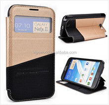 Slide book folio mobile phone cover for Samsung Galaxy Note 2 case PU leather slide to unlock
