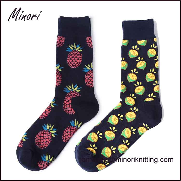 Minori Manufacturer Customed Design 100% Bamboo Fiber Happy fruit Socks