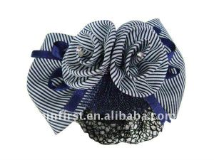 Navy/white Charming Bowknot Cloth Barrette With Net Snood