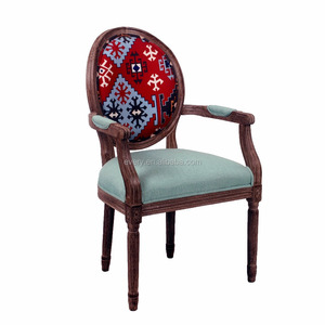 French Classic Style Wood Luxury Antique Living Room Furniture Leisure Leather Armchair Dining Chairs
