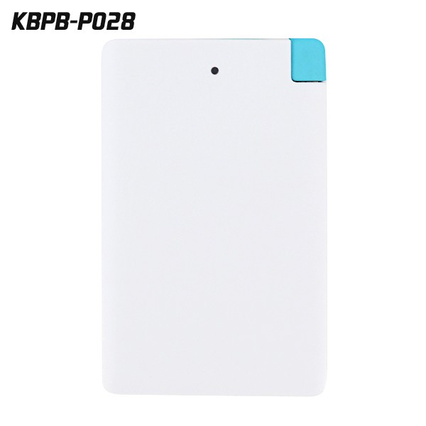Ultra thin credit card mobile power bank with cable 2000mAH for smartphone for gift