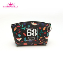 Custom Printing PU Leather Ladies Lovely Travel Cosmetic Makeup Bag