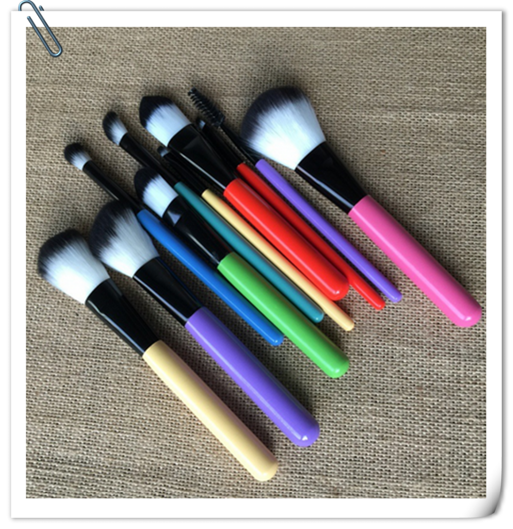 10pcs colorful makeup brush set professional With Candy Color Rainbow Cylinder Case