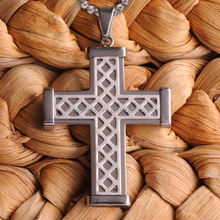 Silver Weave Personalized Cross Necklace