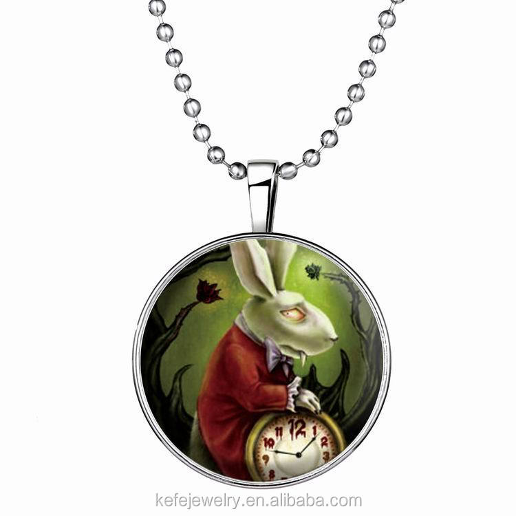 Vintage Evil Rabbit Cabochon Silver Plated Glass with Ball Chain Pendant Necklace