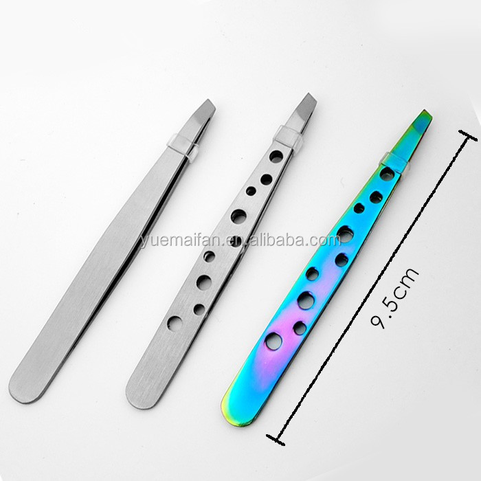High Quality beautiful Girls Shaped Colorful Plating Stainless Steel Eyebrow Tweezers Slant Tweezer