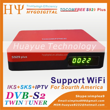 satellite receiver tocomfree s929 plus with iptv 3G iks sks free for South America beter than azamerica s1005