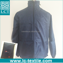 supply 100% 190T nylon dark blue promotional heat transfer print lightweight zip up fold up jacket with a pouch(LCTN1563)