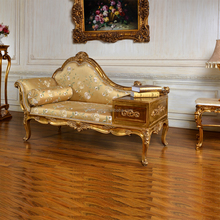 C267 European Style Antique Gold Living Room Chaise Lounge Sofa