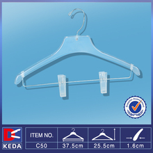With 1 years guarantee plastic PS clothes hanger with pants clips C50