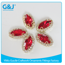 guojie brand Wholesale Marquise Shape Red Color Copper and Glass Stone