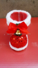 Artificial Bells and Red Sequins Decoratived Plastic Christmas Velvet Boots For Candy /Gifts