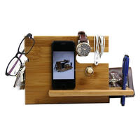 Bamboo Wood Phone Docking Station with Key Holder, Pen Holder, Wallet and Watch Organizer