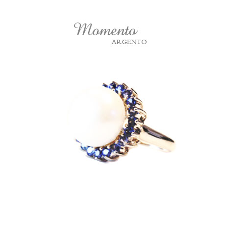 Momento 925 Sterling Silver Ring Set With Fresh Water Pearl +Blue Sapphire And Rhodium Plating