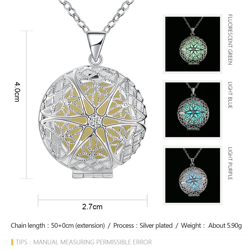 Luminous Necklace Silver Plated Open Type Pendant Necklace Glowing In The Dark Jewelry Female Christmas Gifts Necklace